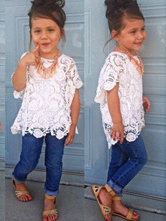 Lace Outerwear+Tanks+Jeans Kids Suits