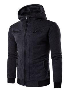 Autumn Hooded Collar Zipper Pocket Men Hoodie