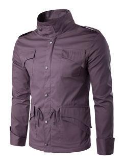 Outlet Stand Collar Pocket String Men Jackets