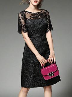 Vogue Style Short Sleeve Lace Celebrity Dress
