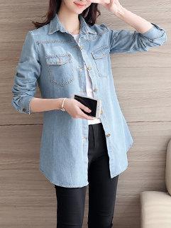 Casual Long Sleeve Pocket Coat