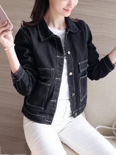 Pocket Long Sleeve Denim Coats And Jackets