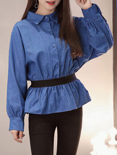 Polo Collar Denim Blouse Design