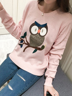 Embroidery Women Pink Sweater Pullover