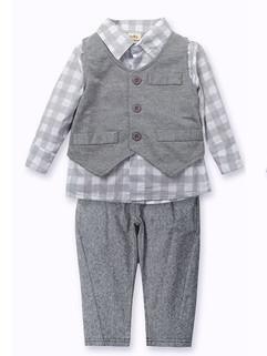 Plaid Shirts 3 Piece Boy Suits