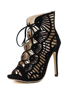 Peeptoes Gladiator Shoes Black Pumps