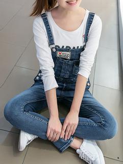 Korean Loose Denim Suspender Trousers