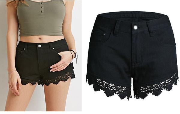 Lace Patchwork Women Shorts Jeans