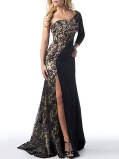 Sexy One Shoulder Lace Patchwork Slit Dress