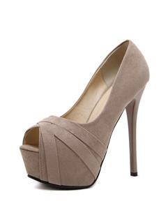 Peeptoes Solid Women Heels Pumps
