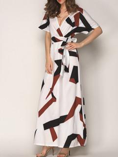 Euro Geometric Prints Long Party Dress