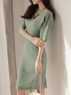 Vernal Style Short Sleeve Green Pencil Dress