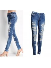 Oversized Ripped Blue Jeans Denim