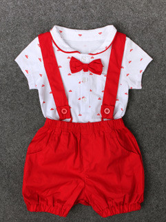 Print Onesie With Overalls Kids Suits