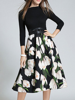 Classical Floral Prints Self Tie Elegant Dress