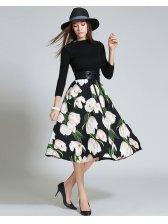 Classical Floral Prints Self Tie Elegant Dress