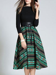 Classical Stirped O Neck Elegant Dress