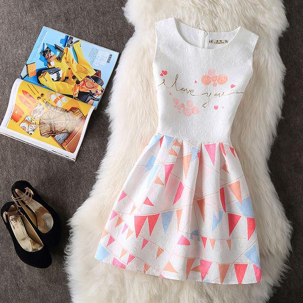 O Neck Print Floral Cheap Cute Dresses