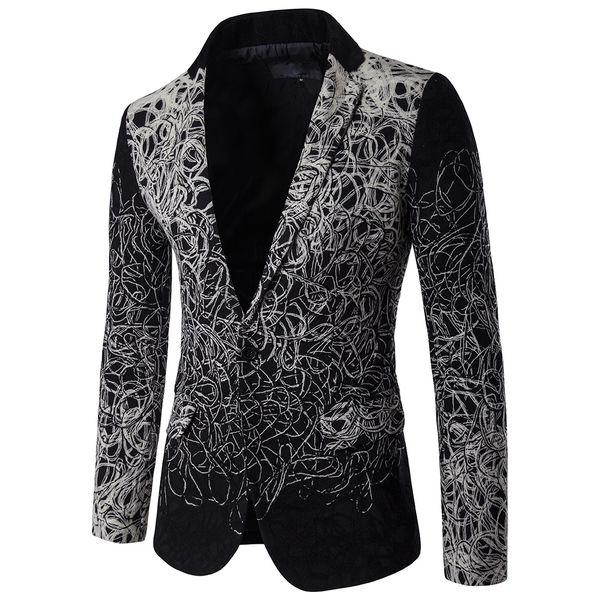 Black Print Floral Turndown Collar Men Coat