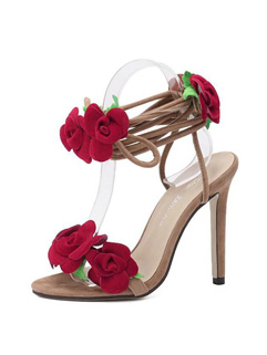 Stiletto Women Flower Apricot Sandals