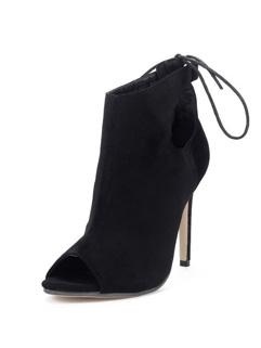 Peeptoes Women Sexy Boots Black