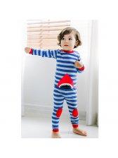 Stripe Shark Print Baby Suits