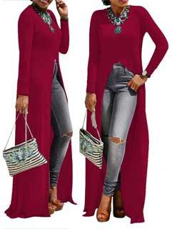 Stylish Long Sleeve Split Long Blouse