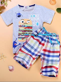 Print Tee Shirt Boys Suits