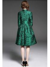 Retro Style Jacquard Lace Green Dress
