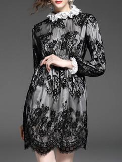 Elegant Floral Lace Wholesale Black Long Sleeve Dress