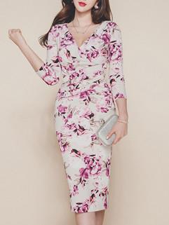 Elegant Print Floral V Neck Slit Long Dresses