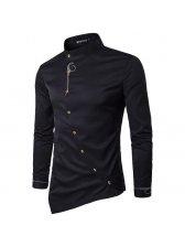 New Stand Collar Black Men Shirt