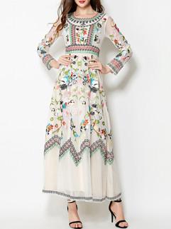 Customize Embroidery Long Sleeve Maxi Dress