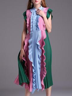 Contrast Color Ruffle Fashion Dress