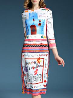 Ethnic Style Printed Bodycon Dress