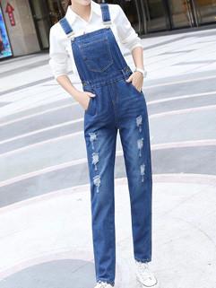 Ripped Women Overalls Denim Pants