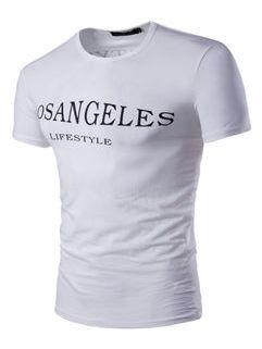 O Neck Print Letter White T-Shirt