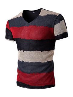V Neck Stripe Casual Men T-Shirt