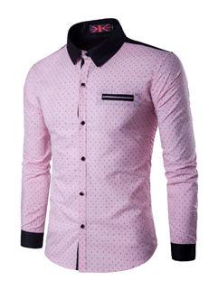 New Print Turndown Collar Men Shirt
