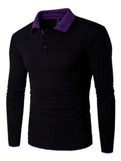 Color Block Polo Neck Men T-Shirt