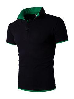 Summer Turndown Collar Short Sleeve Men T-Shirt