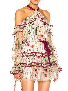 Latest Off Shoulder Embroidery Short Dresses