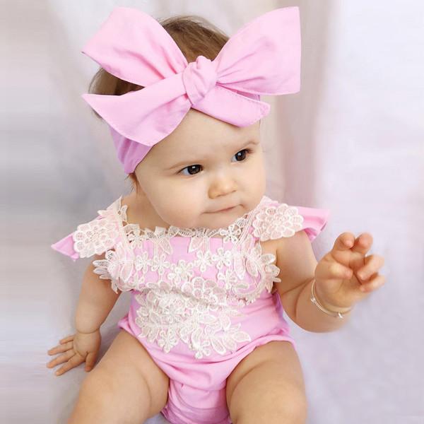 Lace Sleeveless Blush Baby Girl Onesie
