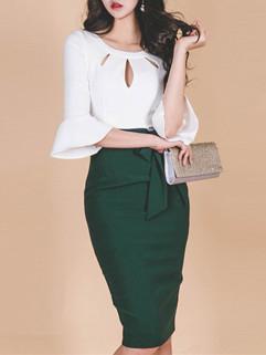 Color Block Flare Sleeve Bandage Fashion Dresses