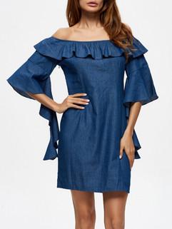 Boat Neck Ruffle Blue Cotton Dresses