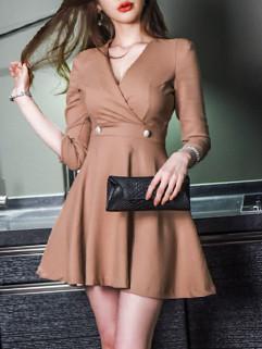 Camel Fashion V Neck A Line Short Dress