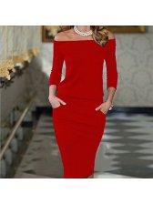 Off Shoulder 3/4 Sleeve Pencil Dress