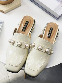 Square Toe Pearls Women Flats