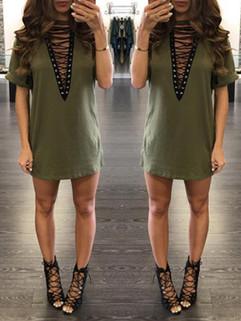 Hot Sale Deep V Lace-up Fashion Dress