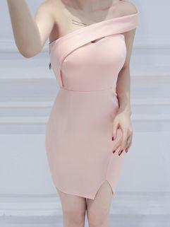 One Shoulder Zipper Up Bodycon Dress